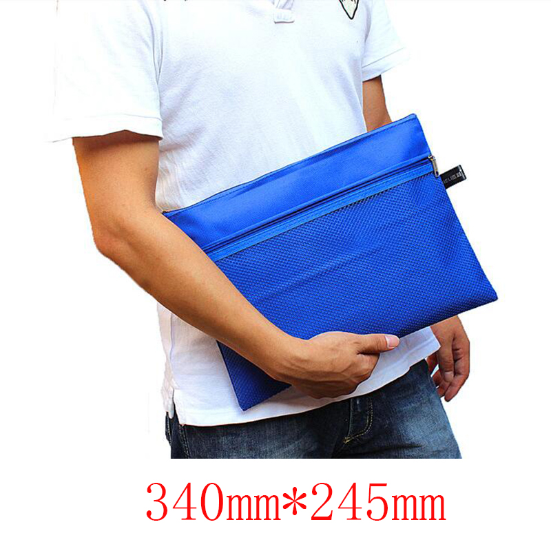 A4 Monochrome Zipper Bag Waterproof Storage Bag Business Office Folder Child Student Learning Gift Stationery 1pc