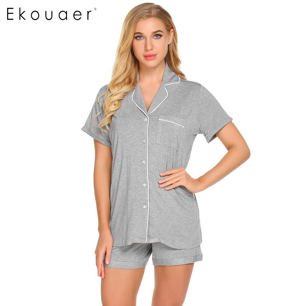 Ekouaer Women Sleepwear   Pajama     Sets     Pajama   Short Sleeve Button Pocket Shirts And Shorts   Pajamas   Suits Female Nightwear   Set