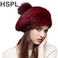 Fur Hat 2016 Fashion Knitted Real Mink Bomber Hat With Fox Fur Pom Pom Berets Warm