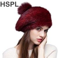 Fur hat 2017 Fashion Knitted Real Mink Beret Cap Hat with Fox Fur Pom Pom Berets Warm Winter Black Women Lady Mink Cap 2016