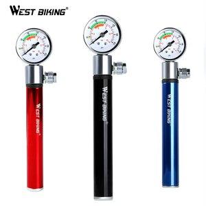 WEST BIKING Mini Bicycle Pump With Pressure Gauge 120 PSI Hand Cycling Pump Presta and Schrader Ball Road MTB Tire Bike Pump