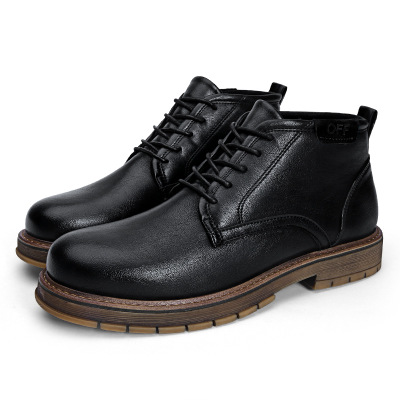 Autumn and winter men's leather boots high shoes retro England  boots men's trend tooling shoes fashion short boots