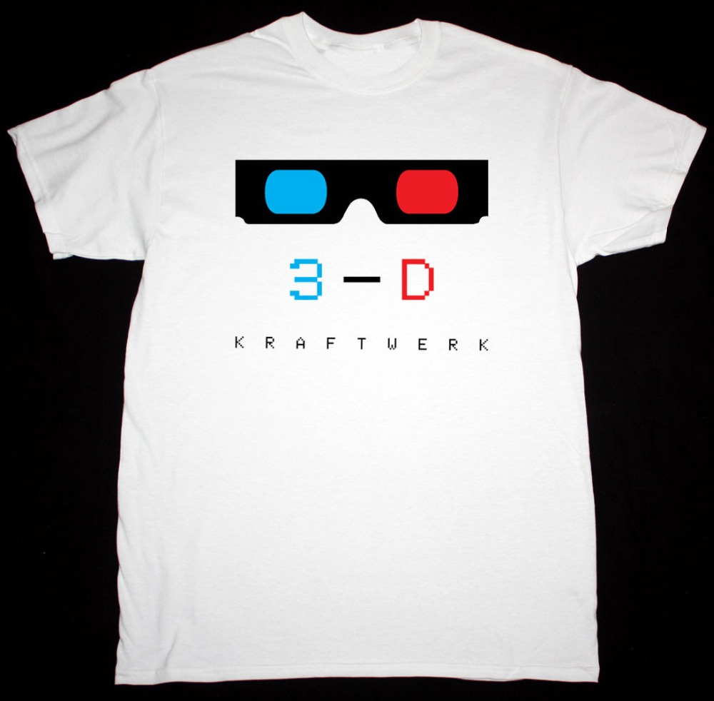 Free shipping 2018KRAFTWERK 3-D BLACK / WHITE MENS T SHIRT ELECTRONIC SYNTH KRAUTROCK ORGANISATION High Quality Casual Clothing