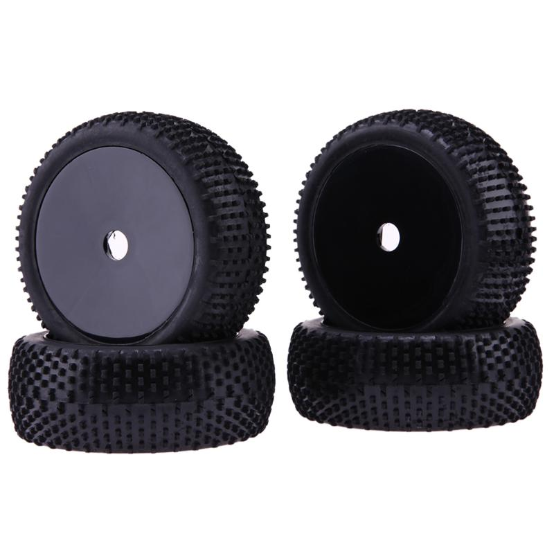 4Pcs Rubber RC Run Flat Car Tires Black Wheel Rim for 1/8 Universal Car 4pcs 1 9 rubber tires