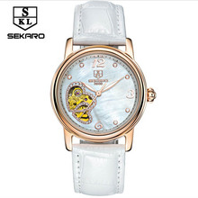 SEKARO Famous Brand Women Watches Luxury Automatic Mechanical Watch Skeleton Transparent Glass Leather Band Relogio femininos