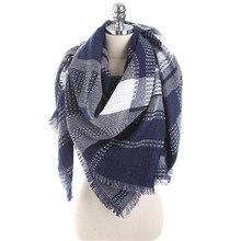 Зимний роскошный брендовый шарф, женские кашемировые квадратные шали и палантины, модные шарфы в клетку, Прямая поставка 140*140 см