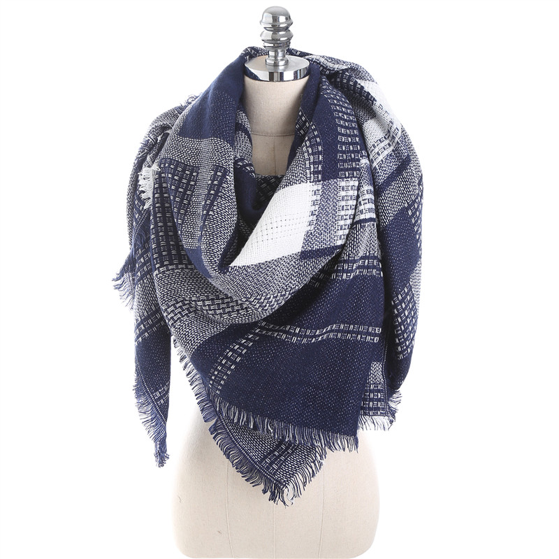 Winter Luxury Brand Scarf Kvinnor Cashmere Square Sjalar och Wraps Blanket Mode Scarves Plaid Foulard Dropshipping 140 * 140cm
