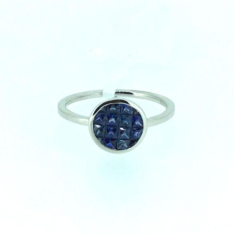 ANI 18K White Gold AU750 Women Wedding font b Ring b font 8mm Natural Blue Sapphire
