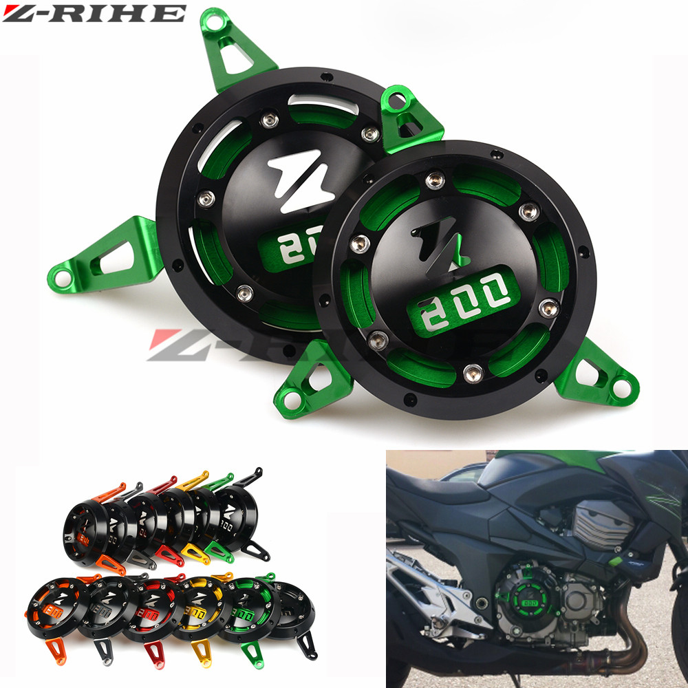 купить 2pc CNC Motorbike Motorcycle Engine Stator Cover Engine Protective Cover For kawasaki z800 2013 2014 2015 2016 2017 Z 800 Z800 недорого
