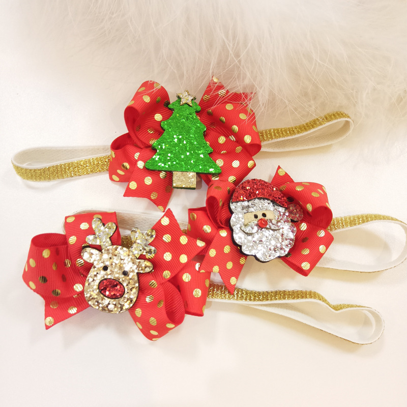 2018 Christmas Girls Headband Tree Santa Claus Deer Kids Cartoon Head Band Lovely Hair Accessories Baby Christmas Gift rhinestone christmas santa tree star brooches