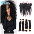 Cheap Peruvian Virgin Hair Deep Wave Lace Frontal Closure With Bundles3/4Pcs/Lots,13*4 Ear To Ear Lace Frontal With Bundles