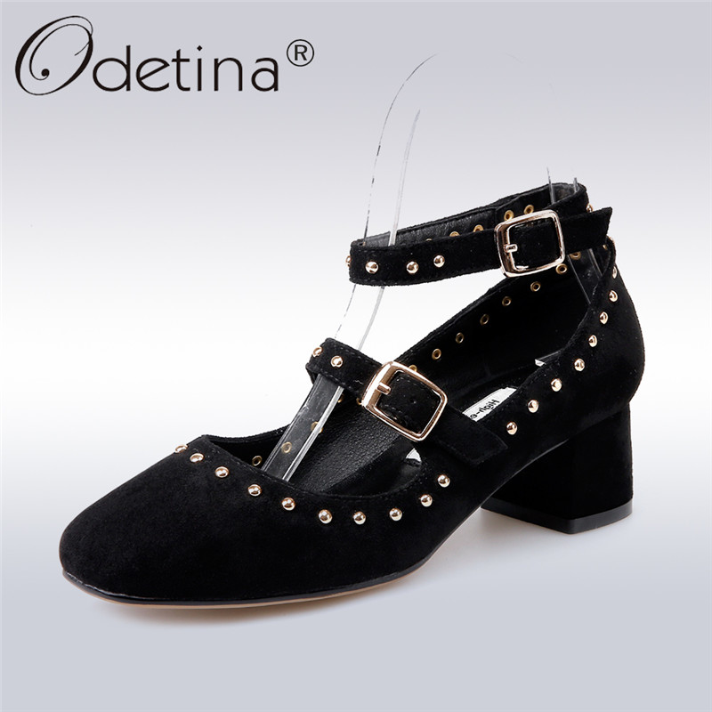 Odetina 2018 New Fashion Women Ankle Strap Pumps Square Toe Rivet Buckle Punk Shoes Lady Square Low Heels Pump Shoes Big Size 44 brand new sale fashion low fretwork heels rhinestone women party shoes elegant sweet ankle buckle strap lady top quality sandals