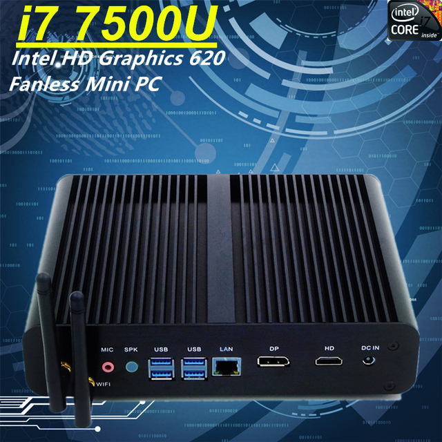 Newest 7th Gen Core i7 7500U Eglobal Fanless Mini PC Intel HD Graphics 620 Windows 10 300M Wifi Kaby Lake 14nm Desktop Computer