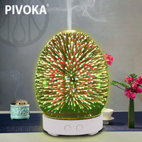 PIVOKA 3D Glass Humidifier Aromatherapy Machine Ultrasonic Essential Oil Diffuser Air Cleaner Diffuser 7 Color LED Night Light