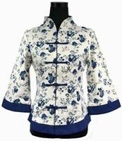 Hot Sale White Blue Vintage Chinese Women's Linen Jacket Clothing Coat Flowers Plus Size S M L XL XXL XXXL 4XL 5XL 2218-2