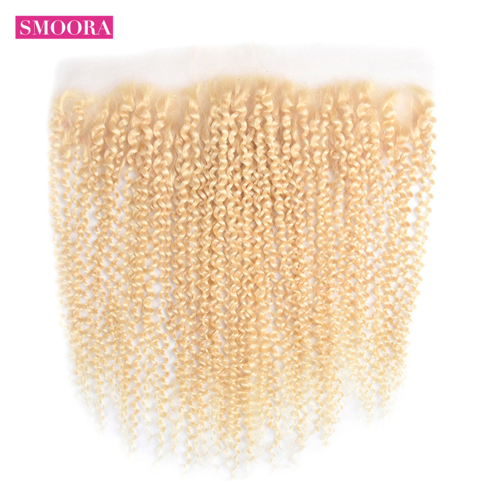 613 Blonde Lace Frontal Closure 13x4 Free Part Non  Kinky Curly Blonde Lace Frontal Bleached Knots 3