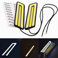 2pcs Lot U Type 6000K White Yellow COB Led Daytime Running Light DRL Headlight Fog Lamp