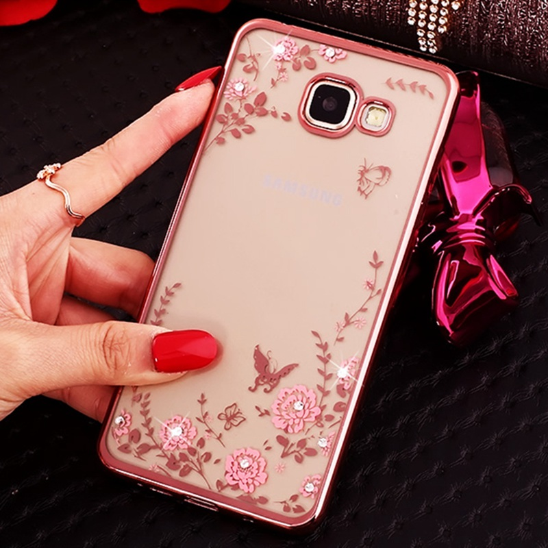 For iPhone 5s 6s 7 Plus Gold Frame Pink Flower Diamonds Soft Cover For Galaxy A3 A5 A7 J5 J3 J7 2015 2016 S5 S6 S7 edge
