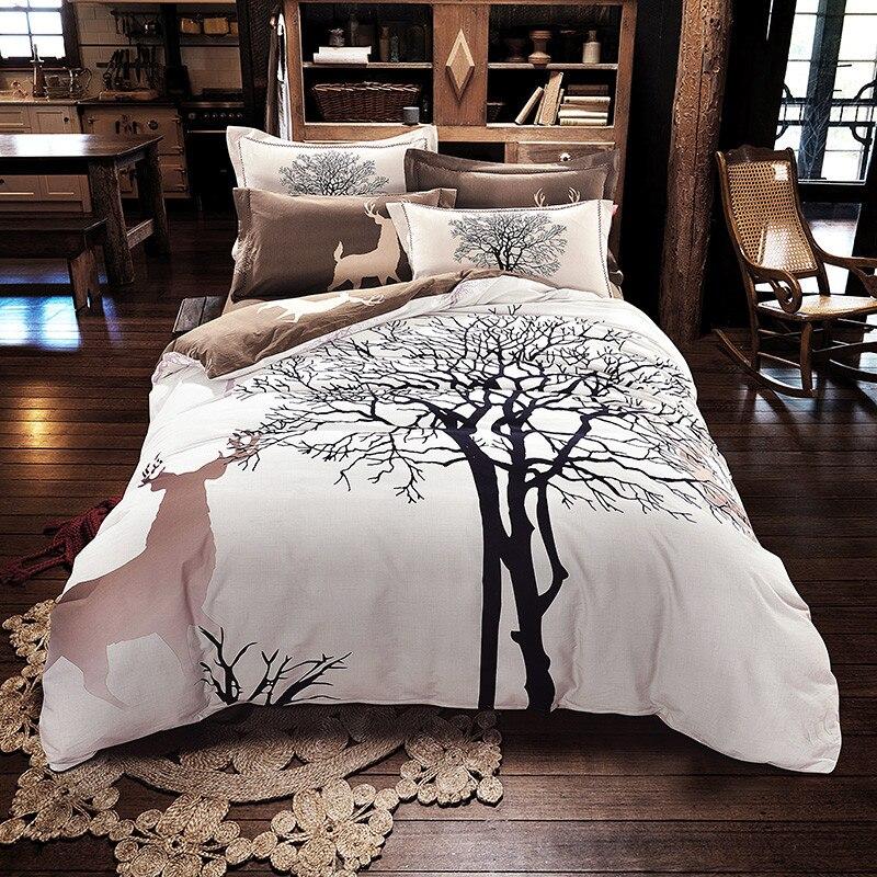 Svetanya дерево с принтом оленя постельных принадлежностей толщиной шлифование хлопковое постельное белье queen/King size зима постельное белье