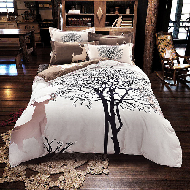 Svetanya Tree Deer Print Bedding Set Thick Sanding Cotton Bed Linens Queen King Size Winter Duvet