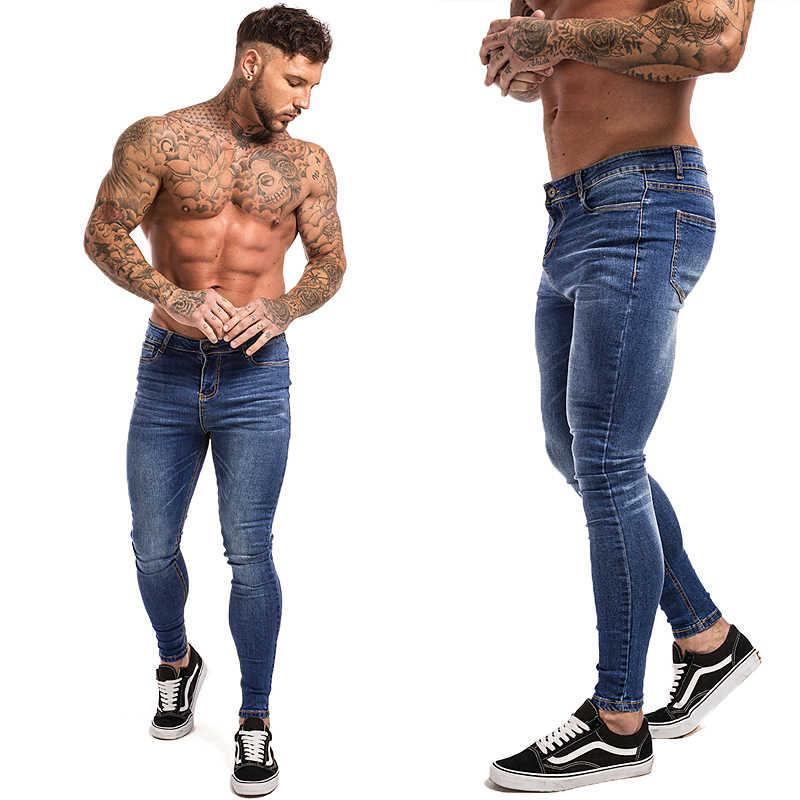 GINGTTO jeansy męskie w pasie obcisłe dżinsy rurki męskie 2020 Stretch poszarpane spodnie Streetwear męskie dżinsy niebieskie
