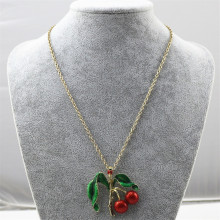 Retro exaggeration red drops glaze Cherry Leaf green enamel insect Ladybug Pendant Long sweater chain