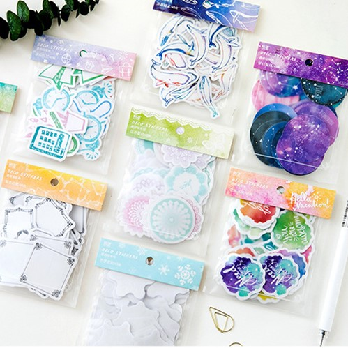 45pcs/pack Kawaii The Night Sky Adhesive DIY Sticker Bag Stick Label Notebook Album Diary Decor Student Stationery Sticker
