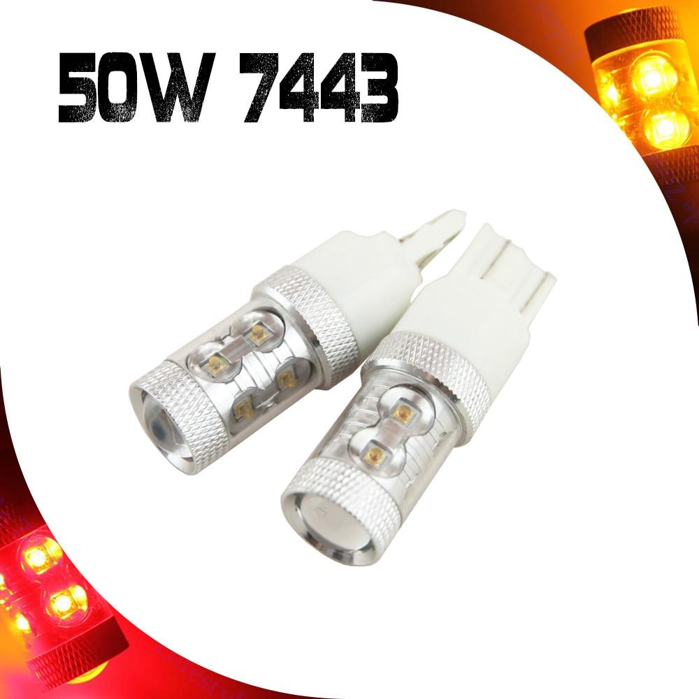 2x High Power 50W T20 7443 W21/5W Auto LED Bulbs Red Yellow Car Reverse Lights Signal Backup DRL Lights