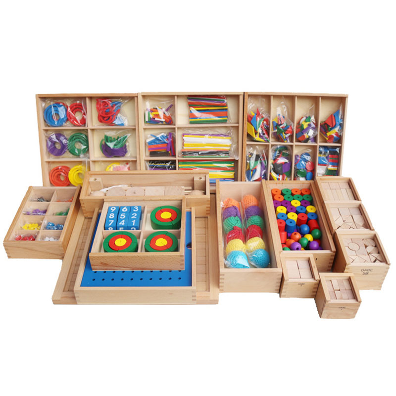 Baby Kids Toys Froebel 15 piece suit Wooden Box Teaching Tools Learning Educational Preschool Training Brinquedo Juguets