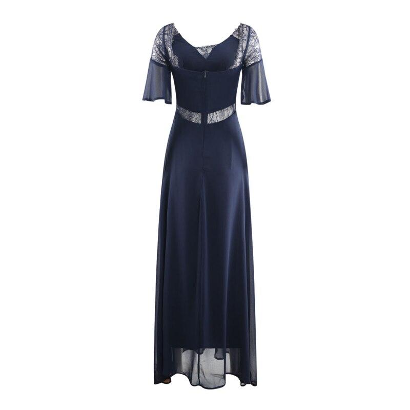 Dark blue half sleeve see through lace spliced maxi dresses women ladies elegant sexy deep V neck high waist long swing dress