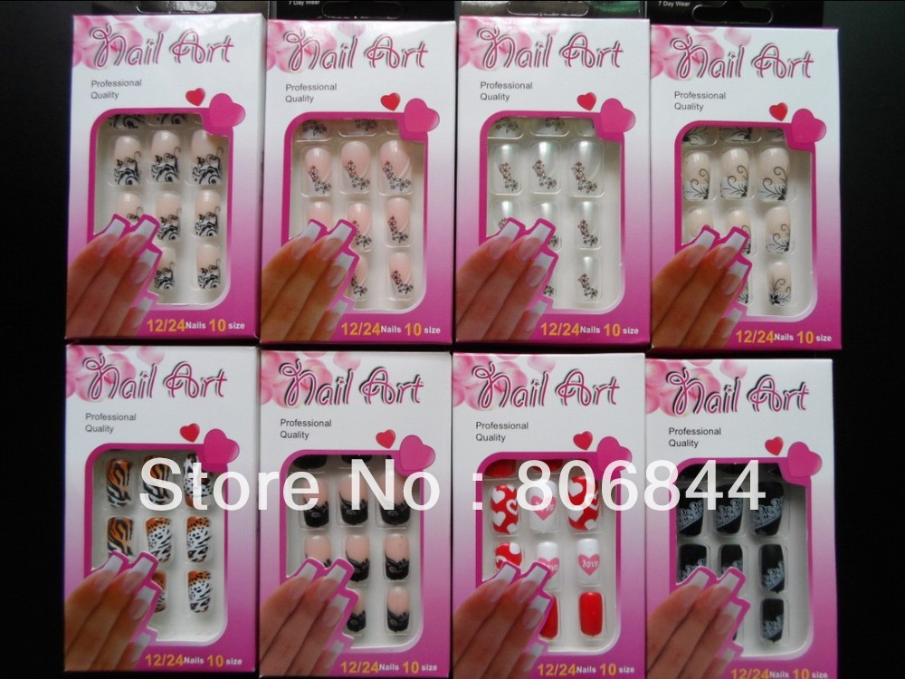Mix Design Flase Nail Tips High Quality ABS Material Pre Design Nail Tips (24pcs/set) 48 Different Design For Your Chooice #219 ...