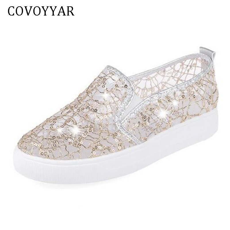 COVOYYAR 2018 Breathable Lace Women Sneakers Bling Shining Platform Woman Shoes Summer Spring Mesh Casual Slip On Loafers WSN196 mesh lace panel sheer slip babydoll