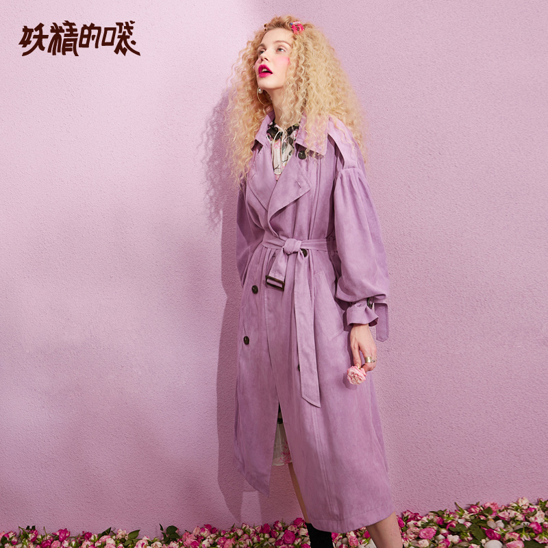 ELF SACK New Casual Trench Woman Solid Turn-down Collar Full Women Trench Coat Double Breasted Oversized Streetwear Femme Trench 3