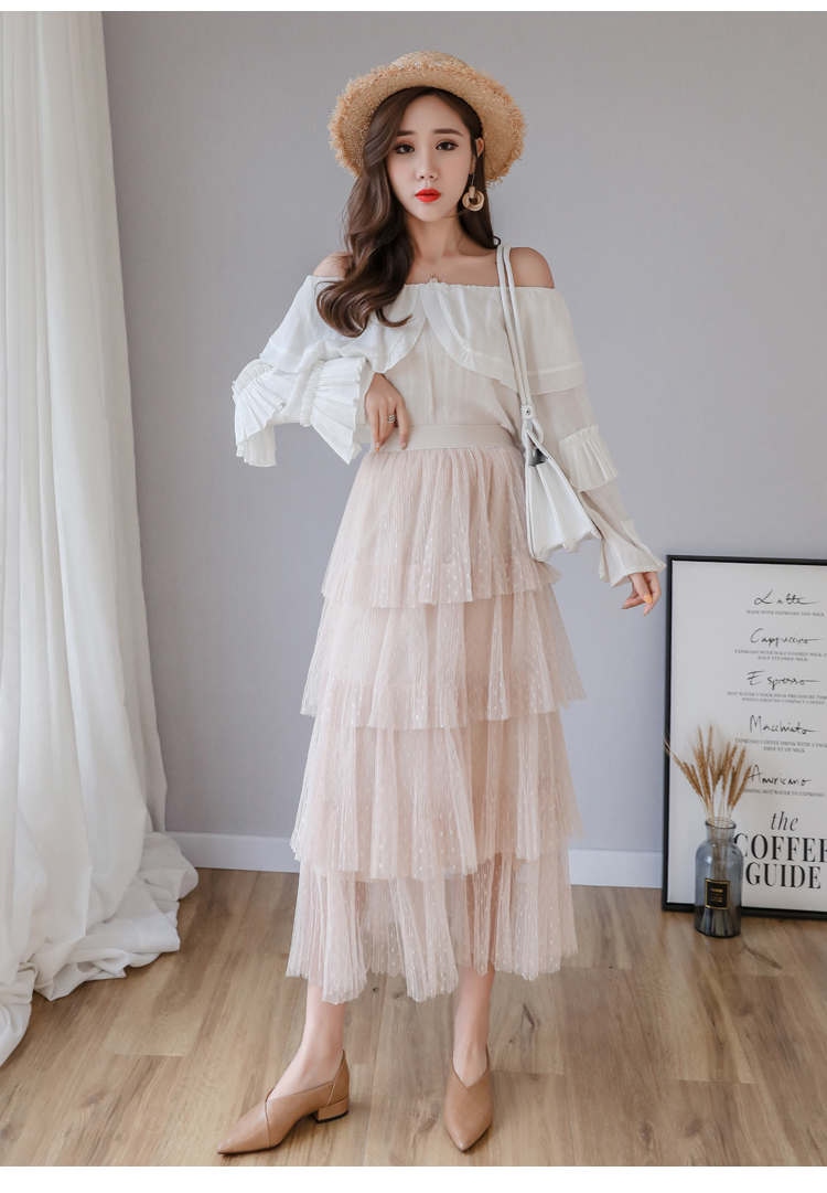 Fitaylor Spring New Sweet Cake Layered Long Mesh Skirts Princess High Waist Ruffled Vintage Tiered Tulle Pleated ins Skirts 1