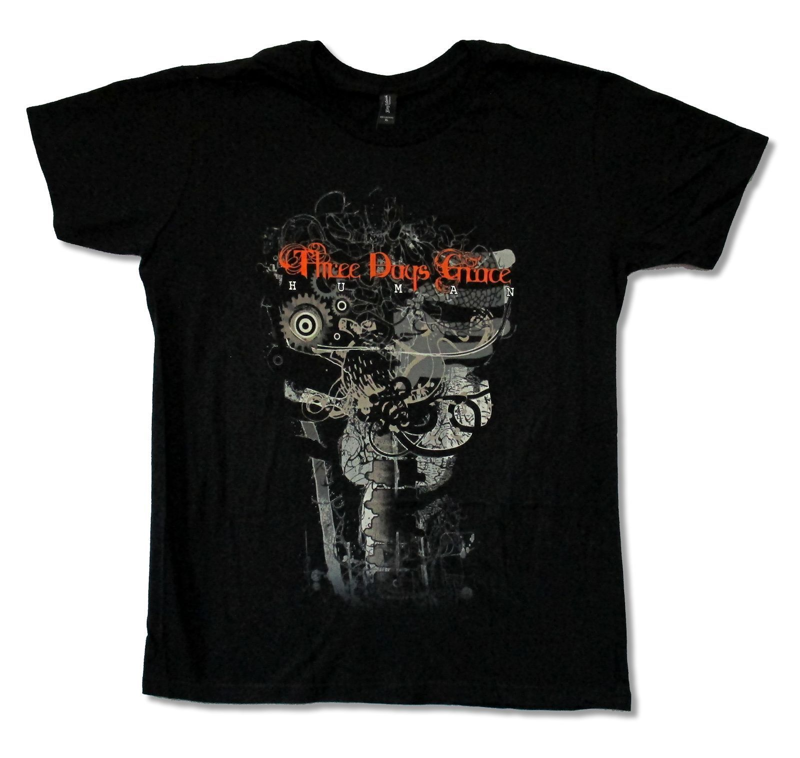 THREE DAYS GRACE GEAR SPINE BLACK T SHIRT NEW OFFICIAL ADULT BAND