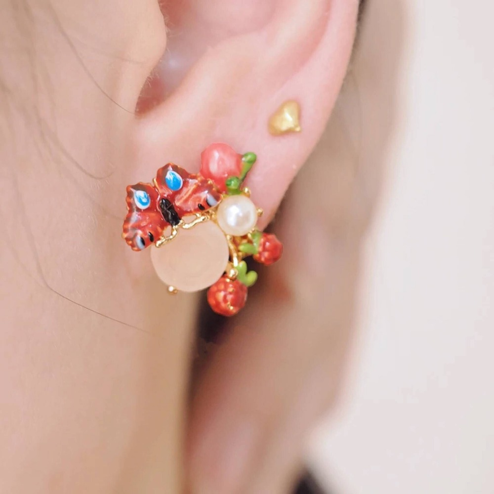 2018 Amybaby Designer Handmade Enamel Glaze Butterfly Red Berry Drop Clip Hook Earrings Jewelry For Party