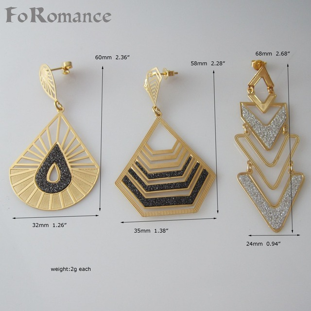 a7ded3254201 MIN ORDER 10  CAN MIX DESIGN  3 styles DANGLER EARRING IN DIFFERENT SHAPES  WITH SHINNG PARTS INSERT- YELLOW GOLD GP LIGHT WEIGHT