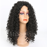 MISS WIG Long Black Kinky Curly Wig Synthetic Hair Wigs For Black Women Afro Hairstyle