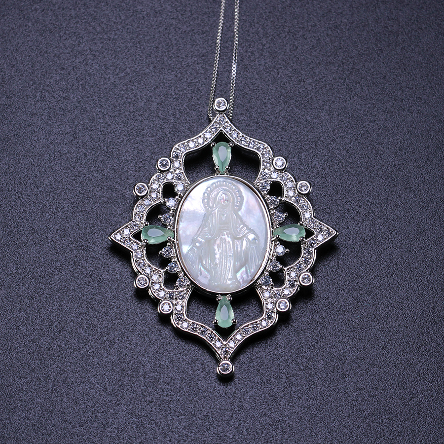 Thanksgiving Shiny green crystal cubic zirconia Virgin Mary pendant necklace  fashion jewelry gift present  for women PGY030