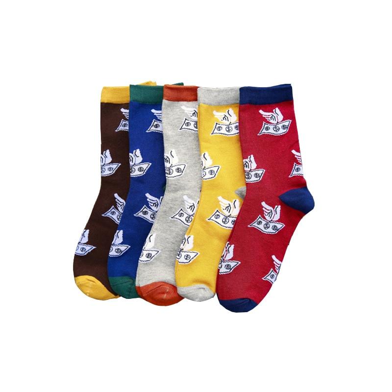 1Pair Men Socks Classic Dollar Design Casual Cartoon Cotton Socks Funny Happy Socks High Quality Tube Sox Hot Sale