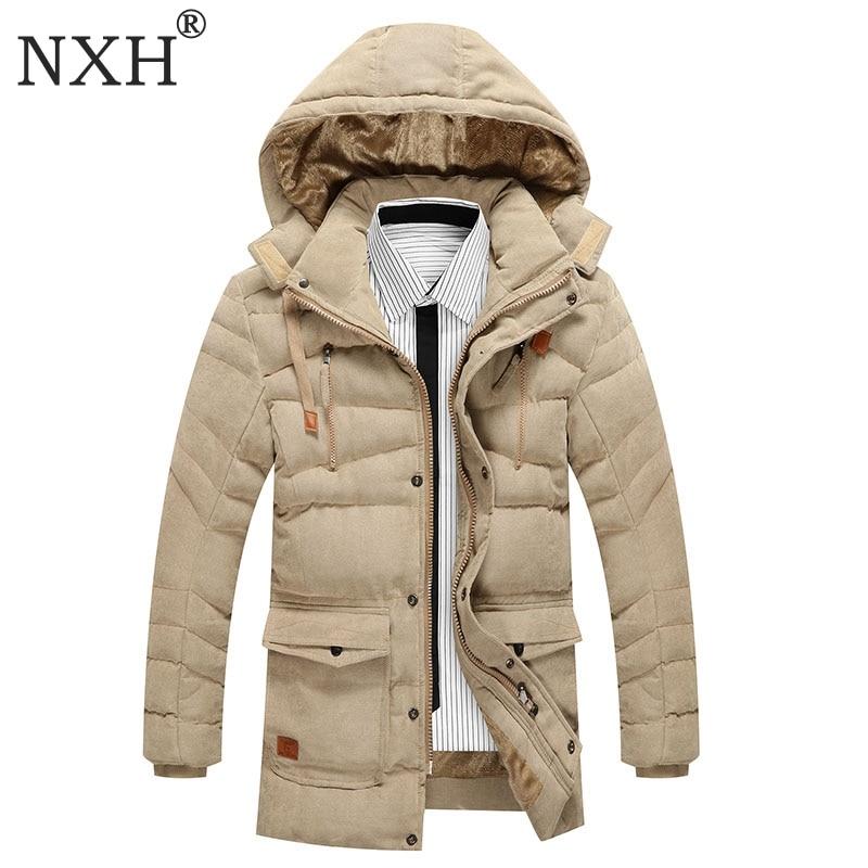 NXH 2017 New Arrival Mens Winter Thick Casual coat Zipper Solid Warm inner Pockets Men Parka