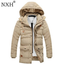 NXH 2017 New Arrival Mens Winter Thick Casual coat Zipper Solid Warm inner Pockets Men Parka High Quality Brand Jackets Clothing