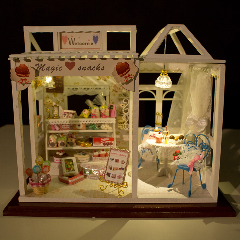 Assemble Diy Doll House Toy Wooden Miniatura Doll Houses