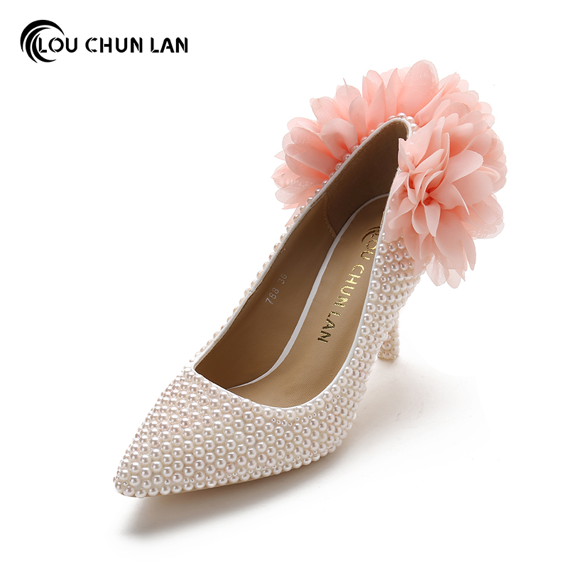 LOUCHUNLAN Women Pumps Pink Shoes High Heels Wedding Shoes Pearls with Flowers Pointed Toe Shoes Free Shipping Party shoes sweet girls pink rhinestone and ivory pearls diamond wedding high heels shoes graduation ceremony party pumps drop shipment