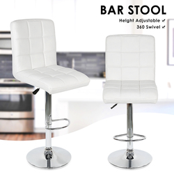 2 uds sillas de Bar giratorias de moda taburete de Bar giratorio sintético taburete alto de elevación con reposapiés Silla ajustable para la decoración del hogar HWC