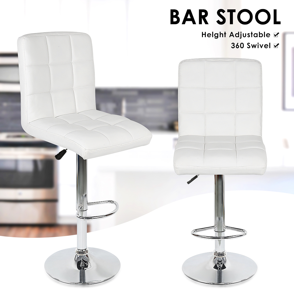 2PCS Fashion Swivel Bar Chairs Synthetic Rotating Bar Stool Lifting High Stool With Footrest Adjustable Silla For Home Decor HWC