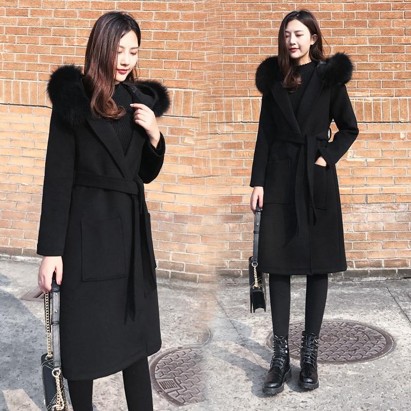Automne hiver vêtement d'extérieur pour femmes 2018 nouveau manteau de laine femme moyen Long sur le genou à capuche col de fourrure lâche dames manteau de laine Cw152