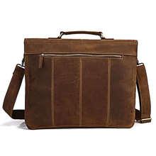 PASTE Crazy Horse Leather Men's Briefcase Laptop Handbag Messenger Bag 7083B free shipping