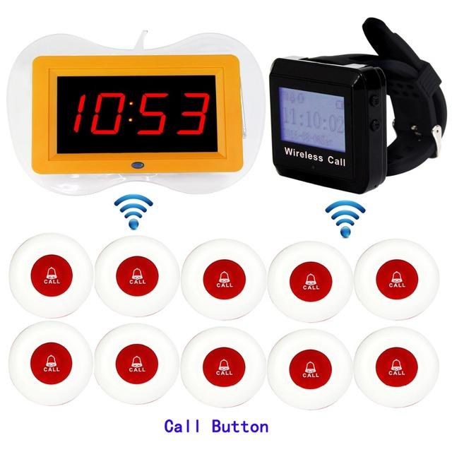 433 MHz Sem Fio Restaurante Sistema de Paginação de 1 pcs Receptor de Transmissão de Voz Host + Receptor de Pulso + 10 pcs Chamada Transmissor botão F3259