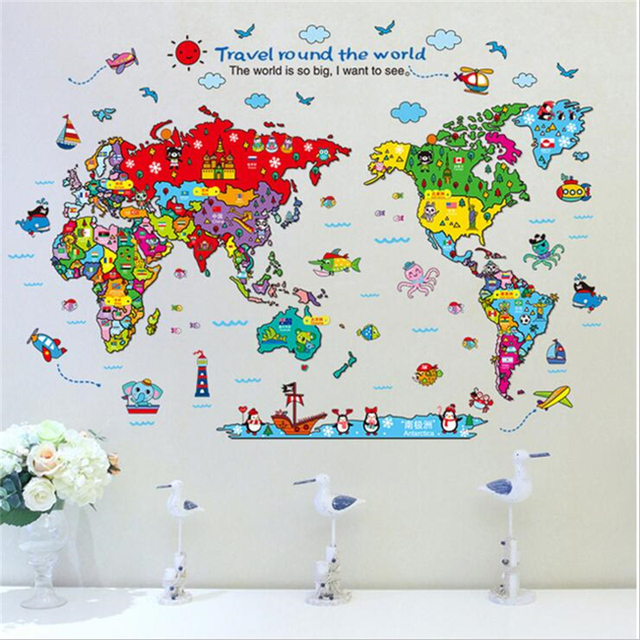 1Pcs Cartoon World Map Diy Wall Stickers For Kids Rooms Childrenu0027s Room Nursery Wall Decal Removable  sc 1 st  AliExpress.com : world map wall art for kids - www.pureclipart.com
